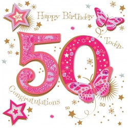 Large Luxury Handmade 50th Birthday Card