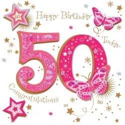 Large Luxury Handmade 50th Birthday Card