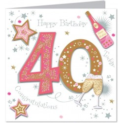 Large Luxury Handmade 40th Birthday Card - Female- Talking Picture