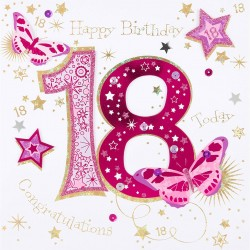 18th Birthday Female Congratulations - Large Handmade Greeting Card by Talking Pictures