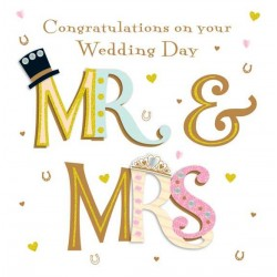 Mr & Mrs Wedding 3D Large Luxury Handmade Card By Talking Pictures