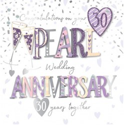 Pearl Wedding Anniversary 30 Years 3D Large Luxury Handmade Card By Talking Pictures