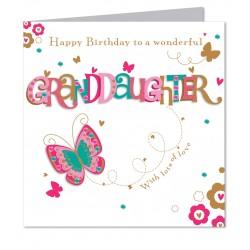 Large Luxury Handmade Granddaughter Happy Birthday Card