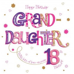 Granddaughter 18th Birthday Large Luxury 3D Handmade Card by Talking Pictures