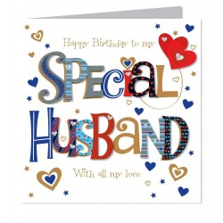 Large Luxury Handmade To A Special Husband Happy Birthday Card