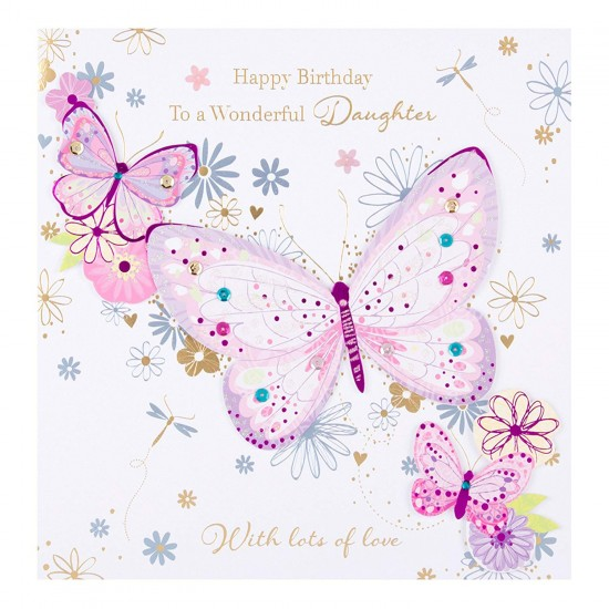 Large Luxury Handmade To A Wonderful Daughter Happy Birthday Card