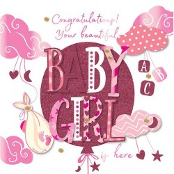 Congraulations New Baby Girl 3D Large Luxury Handmade Card By Talking Pictures