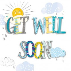 Large Luxury Handmade Get Well Soon Greeting Card - with Foil, glitter and Sequins 3D Finish