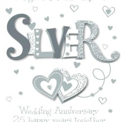 Silver Wedding Anniversary 25th Luxury Handmade Card by Talking Pictures