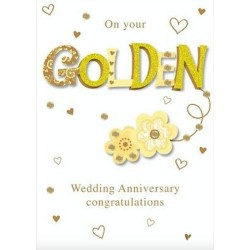 Golden Wedding Anniversary 50th Luxury Handmade Card by Talking Pictures