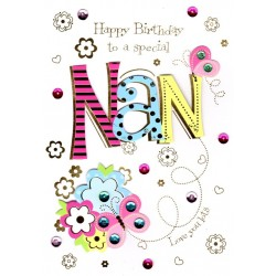 Special Nan Handmade Birthday Greeting Card By Talking Pictures Cards