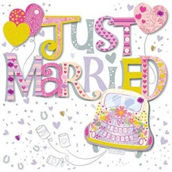 Just Married Luxury 3D Handmade Wedding Card By Talking Pictures