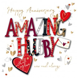 Amazing Hubby Happy Anniversary with Love Luxury Handmade 3D Card by Talking Pictures