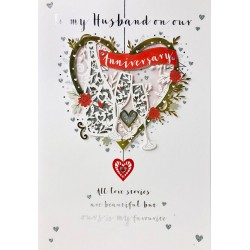 My Husband on our Anniversary Love Story Luxury Handmade Laser Cut Champagne Card by Talking Pictures