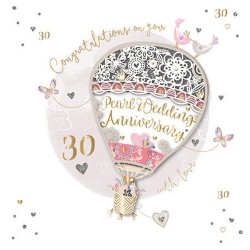 Pearl Wedding Anniversary 30th Laser Cut Air balloon Luxury Handmade Card by Talking Pictures