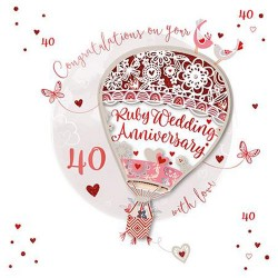 Ruby Wedding Anniversary 40th Laser Cut Air balloon Luxury Handmade Card by Talking Pictures