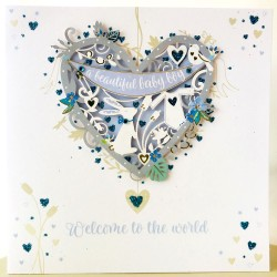 Baby Boy Welcome to the World Luxury Laser Cut Handmade Card by Talking Pictures