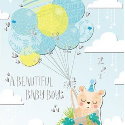 Baby Boy Teddy Bear with Blue Balloons Luxury Handmade Card by Talking Pictures