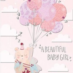 Baby Girl Teddy Bear with Pink Balloons Luxury Handmade Card by Talking Pictures