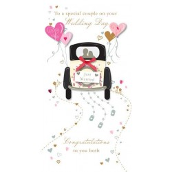 Special Couple on your Wedding Day Luxury Handmade 3D Car Just Married Card by Talking Pictures