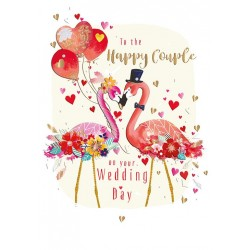 Wedding Day Flamingo Happy Couple Large Luxury Handmade Card by Talking Pictures