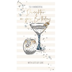 To A Wonderful Daughter - Luxury Handmade Birthday Card - Starlight Range From Talking Pictures
