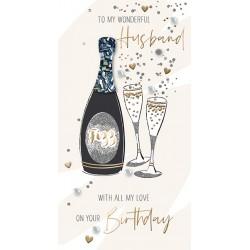To My Wonderful Husband - Luxury Handmade Birthday Card - Starlight Range From Talking Pictures