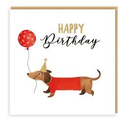 Happy Birthday Hip Hip Hooray Dachshund Dog with Balloon Greeting Card Glitter Finish for Him/ Her - C2752