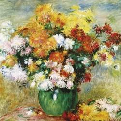 Bouquet of Chrysanthemums by Pierre Auguste Renoir Blank Greeting Card