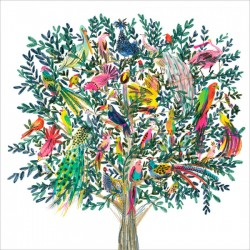 Paradise Tree Colourful Birds Blank Fine Art Print Greeting Card for Any Occasion - ART364