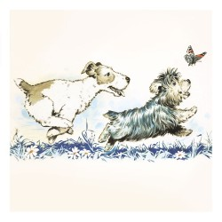 Jack Russell and Terrier Puppy Dogs Chasing Butterfly Blank Fine Art Print Greeting Card for Any Occasion - ART396