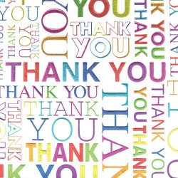 Multi Coloured Thank You Notecards Foil finish Pack of 5 Cards & Envelopes by Tracks Publishing