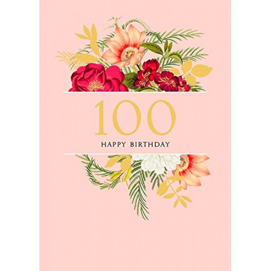 100th UK Greetings Flowers Design  Birthday Card