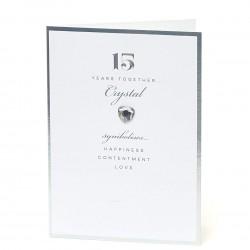 15th Crystal Anniversary UK Greetings Card