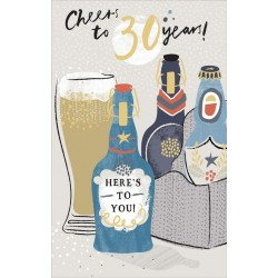 Cheers to 30 years 30th Male Birthday Card