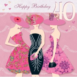 Happy Birthday 40th Glittered Greeting Card