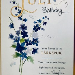 For Your July Birthday Larkspur Flower of the Month Female Greeting Card (608723)