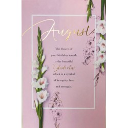 August Birthday Gladiolus Flower of the Month Female Greeting Card