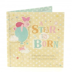 A Star is Born New Baby Luxury Keepsake Memories Book Greeting Card based on Winnie the Pooh Disney