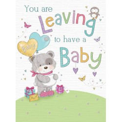 You Are Leaving To Have A Baby Teddy Bear Glitter Greeting Card By UK Greetings