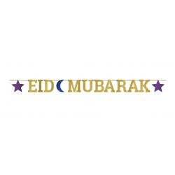 Eid Mubarak Ribbon Glitter Letter Banner  3.65m by Amscan