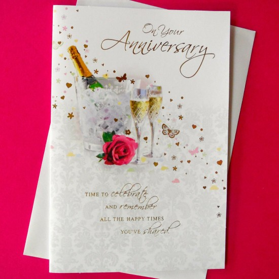 Wedding Anniversary Card features a bottle of champagne in an Ice Bucket by Simon Elvin