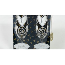 Bride and Groom Glass Champagne Flutes With Sliver & White Hearts