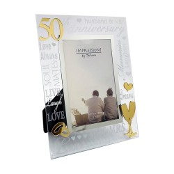 Golden 50th Wedding Anniversary Mirrored Photo Frame by Juliana