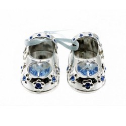 Blue Swavorski Crystal Silver Plated Baby Shoes