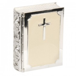 Bible Silverplated & Cream Epoxy Trinket Keepsake Box Christening Confirmation Or 1st Communion