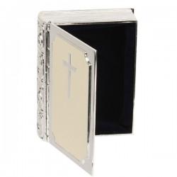 Bible Silverplated & Cream Epoxy Trinket Keepsake Box Christening Confirmation Or 1st Communion