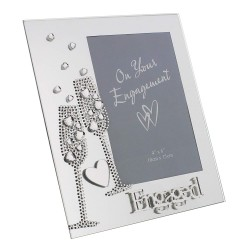 "Engaged"" 6x4"" Mirrored Glass Photo Frame With Diamante Champagne Flutes"
