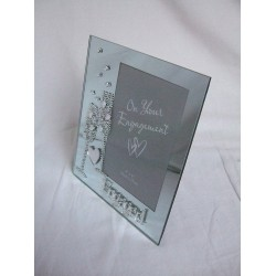 """Engaged"""" 6x4"""" Mirrored Glass Photo Frame With Diamante Champagne Flutes"""