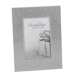 50th Birthday Glittered Mirrored Photo Frame 4x6 By Juliana